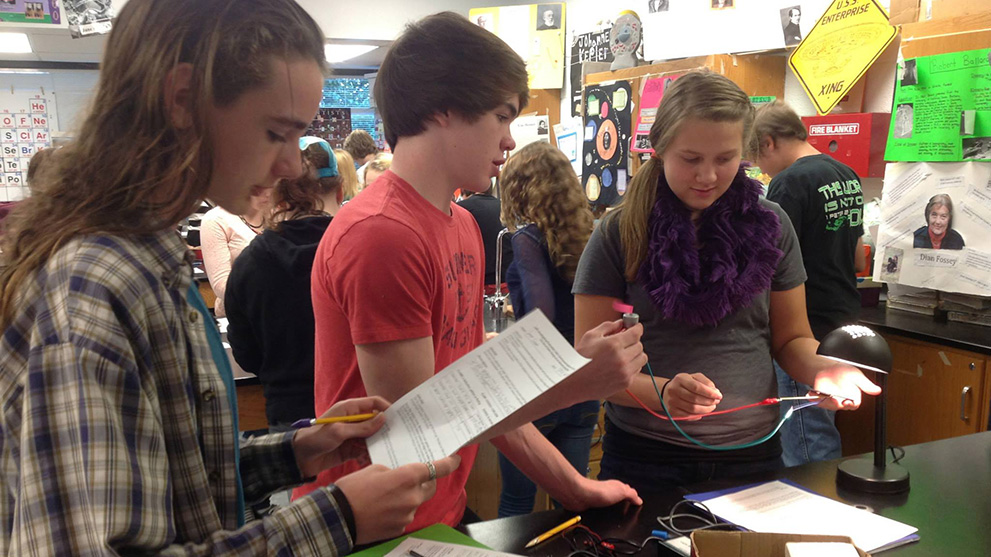 Students working together in science lab